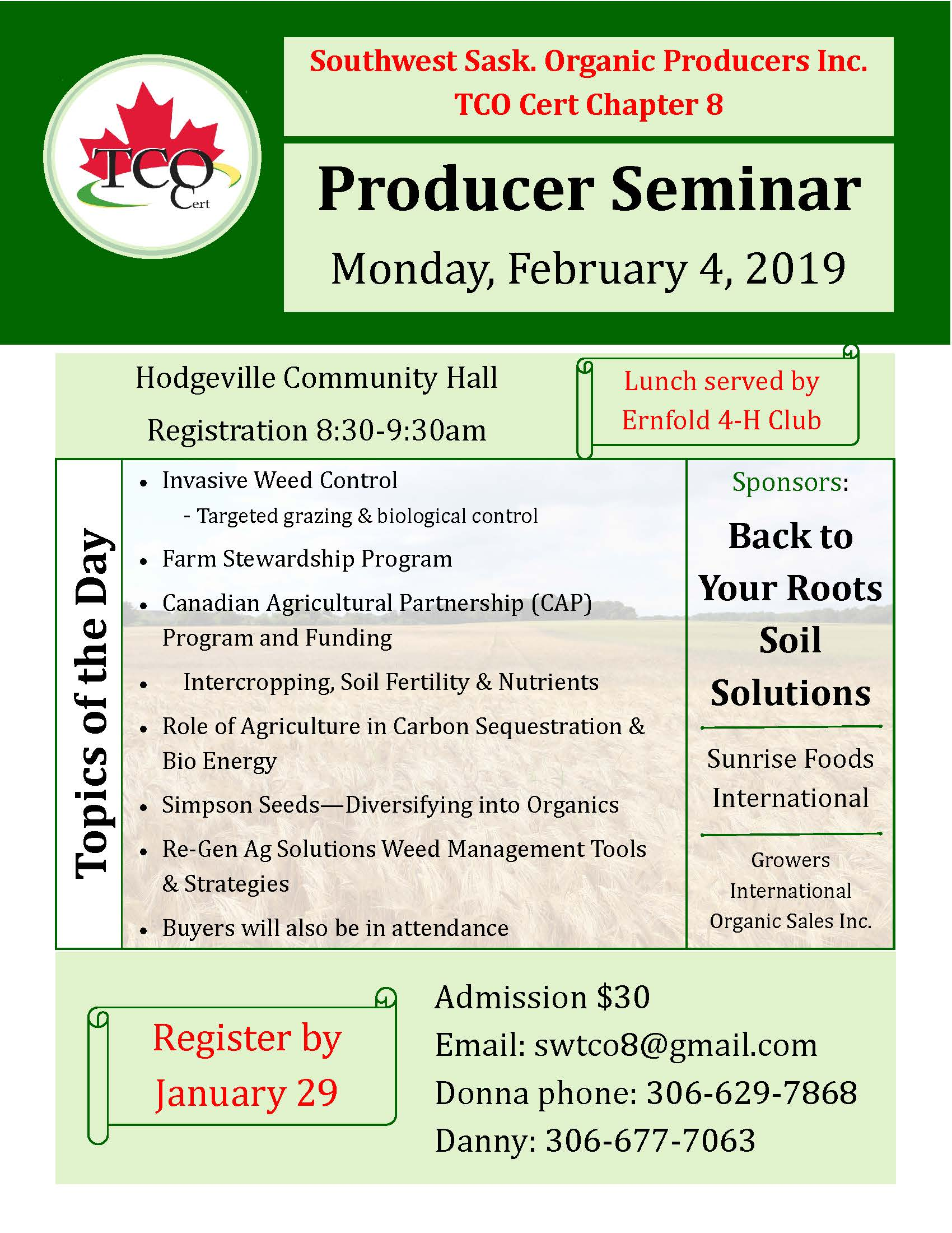 Organic Producer Seminar – Southwest Sask Organic Producers Chapter 8